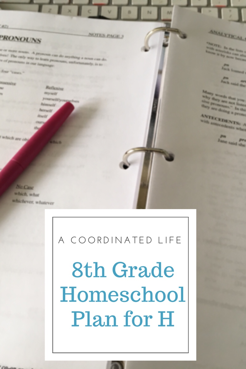 8th Grade Homeschool Plan for H