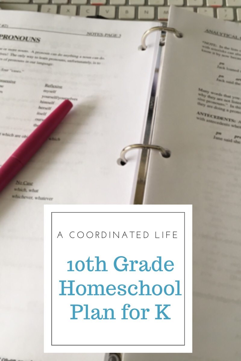 10th Grade Homeschool Plan for K